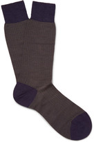 Pantherella Finsbury Herringbone Merino Wool-blend Socks - Purple