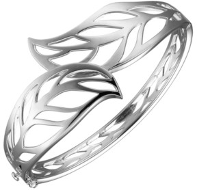 PRIME ART & JEWEL Sterling Silver Leaf Designed Cuff Bracelet
