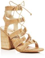 Dolce Vita Eva Raffia Lace Up Block Heel Sandals