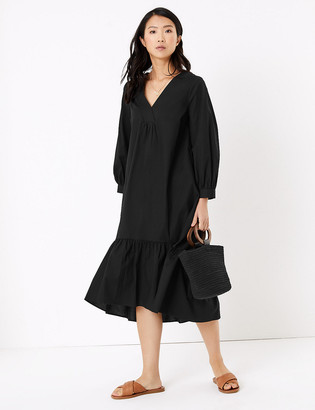 Marks and Spencer Cotton V-Neck Midi Tiered Dress