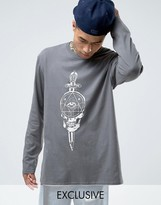 Reclaimed Vintage Oversized Long Sleeve T-Shirt With Front & Back Print