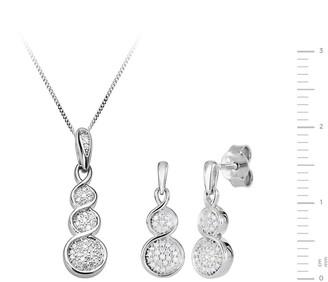 Love Diamond 9ct White Gold Graduated 15 Point Diamond Pendant Necklace & Earrings Set