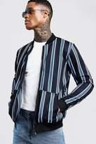 BoohoomanBoohooMAN Mens Blue Stripe Detail Zip Through Bomber Jacket, Blue