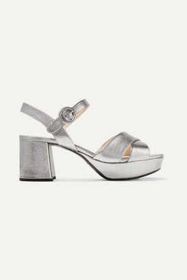 Prada 65 Metallic Textured-leather Platform Sandals - Silver