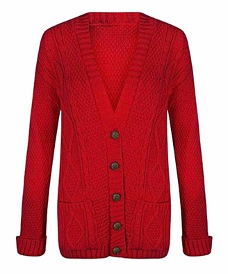 21Fashion Ladies Fancy Chunky Cable Knitted Grandad Cardigan Womens Pockets V Neck Sweater Red Small/Medium
