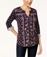 Style&Co. Style & Co Style & Co Petite Printed Split-Neck Top, Created for Macy's