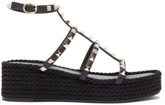 Valentino Torchon Rockstud Leather Flatform Sandals - Black