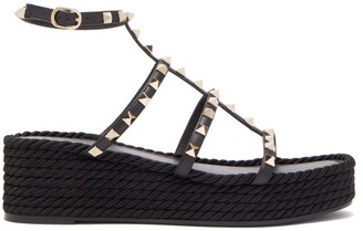 Valentino Torchon Rockstud Leather Flatform Sandals - Womens - Black