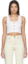 Balmain White Knit Crop Tank Top