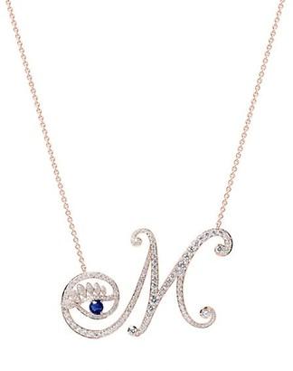 Tabayer Eye 18K Rose Gold, Sapphire Diamond Memorable Pendant Necklace