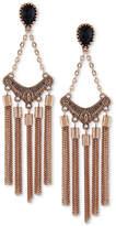 GUESS Gold-Tone Jet Stone Chain Tassel Chandelier Earrings