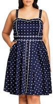 City Chic Plus Size Women's Sweet Darling Piped Dot Print Fit & Flare Dress