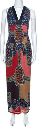 Etro Multicolor Printed Silk Smocked Detail Maxi Dress M