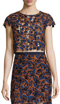 Saloni Eva Guipure Lace Crop Top, Navy/Orange