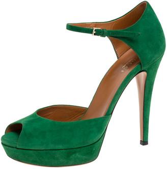 Gucci Green Suede Peep Toe Ankle Strap Platform Sandals Size 37