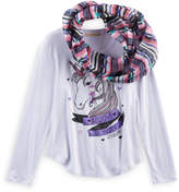 Self Esteem Girls 7-16 Foil Graphic Tee & Infinity Scarf Set with Necklace
