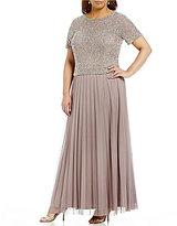 Cachet Plus Beaded Floral Mock 2-Piece Gown