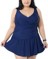 Aivtalk Womens Plus Size One Piece Swimsuit V Neck Fat Swimdress 2XL