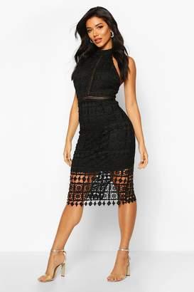 boohoo High Neck Crochet Lace Midi Dress