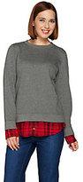 C. Wonder Brushed French Terry Sweatshirt with Plaid Hem