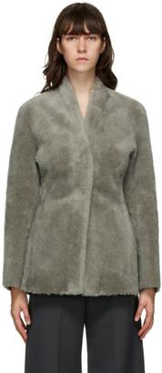 LVIR Grey Faux-Shearling Collarless Mustang Jacket