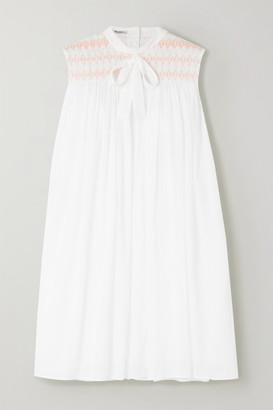 Miu Miu Embroidered Smocked Cotton-poplin Mini Dress - Ivory