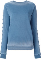 Balmain lace-up sleeve sweatshirt - women - Cotton - 42