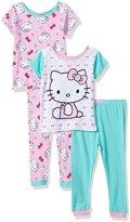SANRIO Girls' Baby Hello 4-Piece Cotton Pajama Set