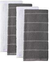"""DII 100% Cotton Ultra-Absorbent Cleaning Drying Luxury Chef Terry Dish Towels for Everyday Kitchen Basic 16 x 26"""" Set of 4- Gray"""