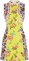 Mary Katrantzou Amore Floral-print Silk-blend Cloqué Mini Dress - Yellow