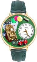 Whimsical Watches Personalized Casino Womens Gold-Tone Bezel Green Leather Strap Watch