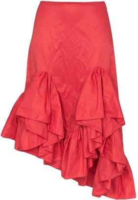 Marques Almeida Ruffled Asymmetric Midi Skirt
