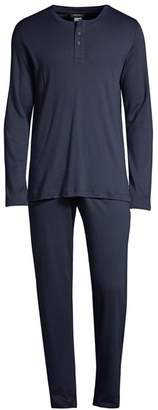 Hanro Thilo 2-Piece Long-Sleeve Henley Pajama Set