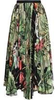 ADAM by Adam Lippes Pleated Printed Crepe Midi Skirt