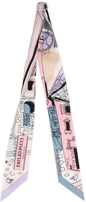 Emilio Pucci Battistero print skinny scarf