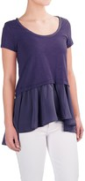 Specially made Cotton Layered-Look Shirt - Short Sleeve (For Women)