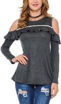 Celeste Charcoal Ruffle Cold-Shoulder Tunic