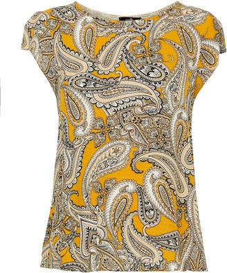 Wallis Yellow Paisley Print Split Back Top