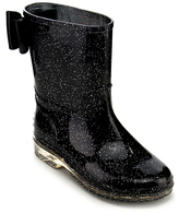 Jelly Beans Black Glitter Bradon Rain Boot