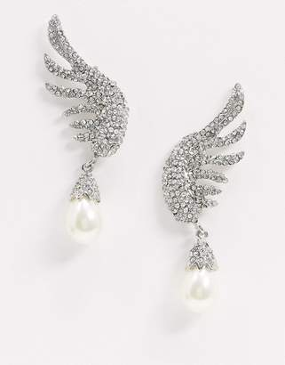 Vero Moda rhinestone feather earrings with pearl drop