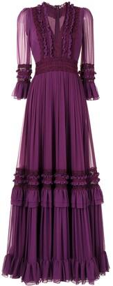 Costarellos Shay silk chiffon gown