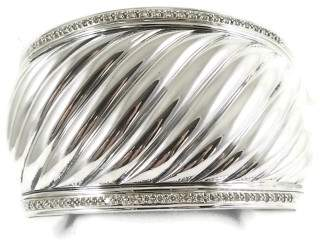 David Yurman 925 Sterling Silver & 0.81tcw Diamond Wide Sculpted Cable Cuff Bracelet