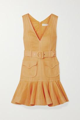 Zimmermann Super Eight Tiered Belted Linen Mini Dress - Saffron