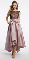 Camille La Vie Satin Sequin High Low Prom Dress