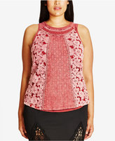 City Chic Trendy Plus Size Mixed-Lace Tank Top
