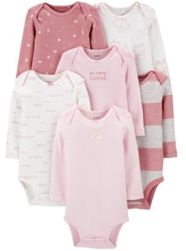 Carter's Baby Girls 6-Pack Long-Sleeve Printed Cotton Bodysuits