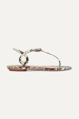 Aquazzura Almost Bare Elaphe Sandals - Snake print