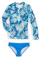Seafolly Girl's Jungle Geo Two-Piece Rashguard Swimsuit