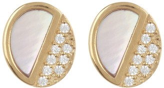 Argentovivo 18K Gold Plated Sterling Silver Mother Of Pearl & CZ Oval Stud Earrings