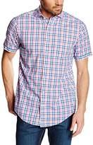 Gant Men's Albatros Cotton & Linen Check Short Sleeve Casual Shirt,
